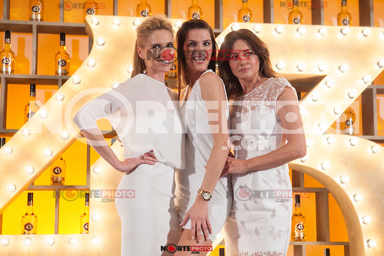 Spanish models (L-R) Judit Masco, Laura Sanchez and Jose Toledo pose during Licor 43 presentation in Madrid, Spain. January 29, 2015. (ALTERPHOTOS/Victor Blanco) /nortephoto.com<br />