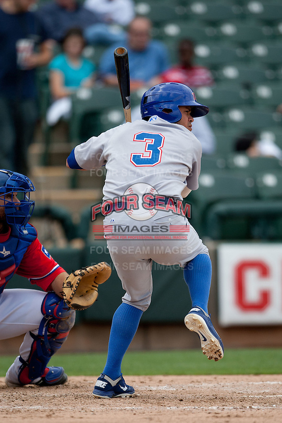 Iowa Cubs second baseman Alfredo Amezaga #3 at bat during the Pacific Coast League baseball game against the Round Rock Express on April 15, 2012 at the Dell Diamond in Round Rock, Texas. The Express beat the Cubs 11-10 in 13 innings. (Andrew Woolley / Four Seam Images).