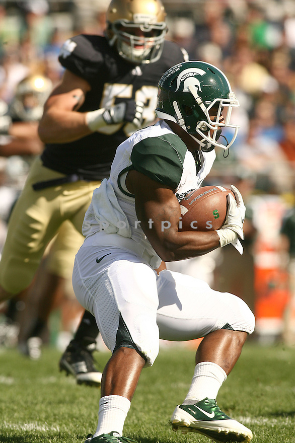 EDWIN BAKER, of the Michigan State Spartans, in action during Michigan States game against Notre Dame on September 17, 2011 at Notre Dame Stadium in South Bend, IN. Notre Dame beat Michigan State 31-13.