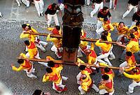 Gubbio 15 MAY 2004..Festival of the Ceri..The Cero St Ubaldo  in Via dei Consoli ....http://www.ceri.it/ceri_eng/index.htm..