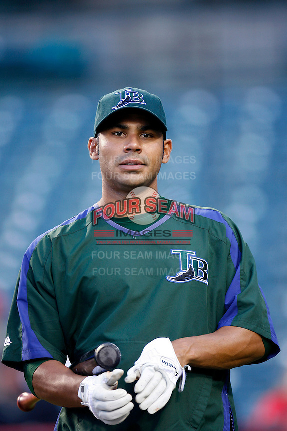 Carlos Pena of the Tampa Bay Rays during batting practice before a game from the 2007 season at Angel Stadium in Anaheim, California. (Larry Goren/Four Seam Images)