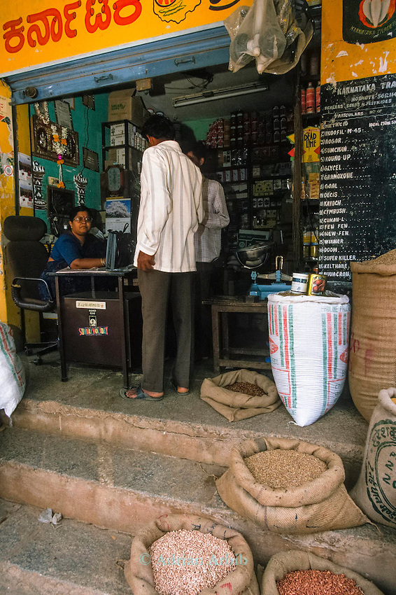Weed  and pest killers in a shop in  Karnataka  state. India<br /> With a 26% increase in the amount of  chemical used  farmers are finding themselves  in cycles  of debt that they can never escape from .