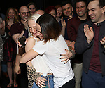 """Sophia Anne Caruso, Leslie Kritzer and Rob McClure during the Broadway Opening Night Actors' Equity Legacy Robe Ceremony honoring Jill Abramovitz for """"Beetlejuice"""" at The Wintergarden on April 25, 2019  in New York City."""