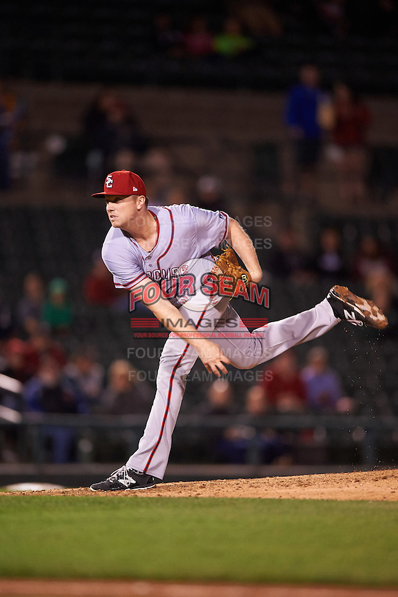 Syracuse Chiefs relief pitcher Sam Runion (17) follows through on a pitch during a game against the Rochester Red Wings on July 1, 2016 at Frontier Field in Rochester, New York.  Rochester defeated Syracuse 5-3.  (Mike Janes/Four Seam Images)