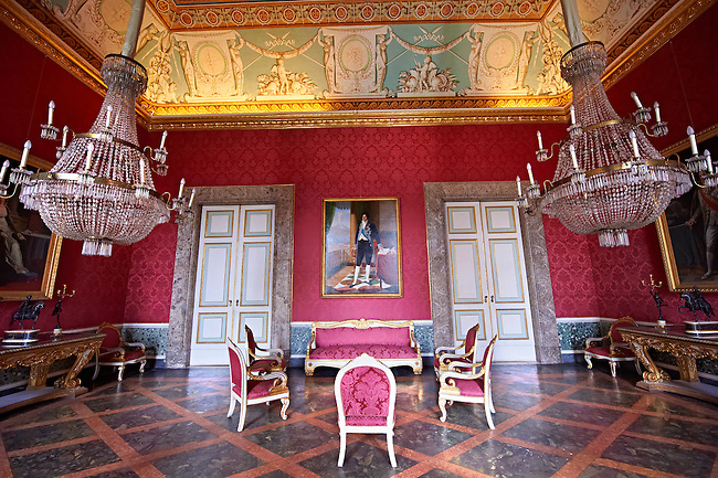 """""""The second antechamber of Joachim Murat"""". The walls have frescoes by Giuseppe Cammarano with a reproduction of the abduction of Helen. the portrait on the wall of Joseph Bonaparte is by Costanzo Angelini.  The Bourbon Kings of Naples Royal Palace of Caserta, Italy."""
