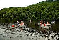 Boating in the lake at Camp Raven Knob Scout Reservation, one of the largest Boy Scout camps in the United States. Camp Raven Knob is located within Boy Scouts of America's Old Hickory Council in Mt. Airy, North Carolina. Troops from across the US attend the camp's one-week residential boys' summer programs, which offer instruction on more than 40 merit badges, adventure programs and new Scout orientation.