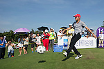 Jeremy Renner kicks a football at the 14th hole during the World Celebrity Pro-Am 2016 Mission Hills China Golf Tournament on 22 October 2016, in Haikou, China. Photo by Victor Fraile / Power Sport Images