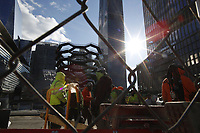 NEW YORK, NY - MARCH 12: Workers work at the Hudson Yards real estate development complex on March 12, 2019 in New York. The Hudson Yards is on of the biggest billion project on Manhattan's west side and is expected to open its doors on Friday. (Photo by Eduardo MunozAlvarez/VIEWpress)