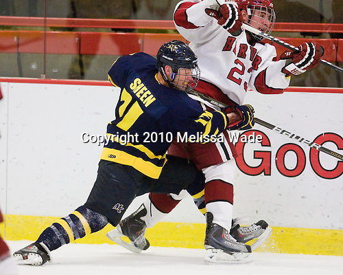 Elliott Sheen (Merrimack - 11), Matt McCollem (Harvard - 23) - The visiting Merrimack College Warriors defeated the Harvard University Crimson 3-1 (EN) at Bright Hockey Center on Tuesday, November 30, 2010.