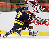 Elliott Sheen (Merrimack - 11), Matt McCollem (Harvard - 23) - The visiting Merrimack College Warriors defeated the Harvard University Crimson 3-1 (EN) at Bright Hockey Center on Tuesday, November 30, 2010.
