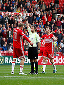 30th September 2017, Riverside Stadium, Middlesbrough, England; EFL Championship football, Middlesbrough versus Brentford; Patrick Bamford of Middlesbrough is booked by Ref Mr Paul Tierney after he turned down appeals for a penalty late in the 2-2 draw