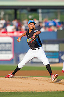 Reading Fightin Phils starting pitcher Severino Gonzalez (40) in action against the Akron Rubber Ducks at FirstEnergy Stadium on June 19, 2014 in Wappingers Falls, New York.  The Rubber Ducks defeated the Fightin Phils 3-2.  (Brian Westerholt/Four Seam Images)