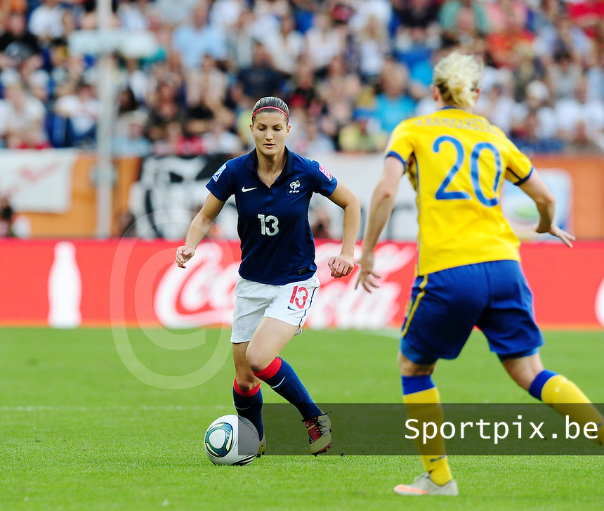 Fifa Women's World Cup Germany 2011 : Zweden - France Frankrijk at Sinsheim World Cup stadium : Caroline Pizzala.foto DAVID CATRY / Vrouwenteam.be