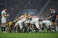 Twickenham, Surrey. UK. Right, Referee, Ben O'KEEFFE, watches the England scrum as Ben YOUNGS, waited for the &quot;Put In Signal&quot;  from the ref.  <br /> England VS Australia, Autumn International. Old Mutual Wealth Series. RFU Stadium, Twickenham. UKduring the <br /> England VS Australia, Autumn International. Old Mutual Wealth Series. RFU Stadium, Twickenham. UK<br /> <br /> Saturday  18.11.17<br /> <br /> [Mandatory Credit Peter SPURRIER/Intersport Images]