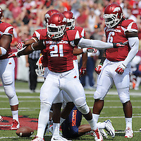 NWA Democrat-Gazette/ANDY SHUPE<br /> Arkansas' Josh Williams reacts to tackling a University of Texas at El Paso ball carrier Saturday, Sept. 5, 2015, during the first quarter of play in Razorback Stadium in Fayetteville. Visit nwadg.com/photos to see more from the game.