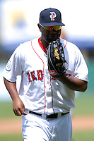 Infielder/Outfielder Yamaico Navarro #11 of the Pawtucket Red Sox during a game versus the Lehigh Valley Iron Pigs on June 19, 2011 at McCoy Stadium in Pawtucket, Rhode Island.(Ken Babbitt/Four Seam Images)
