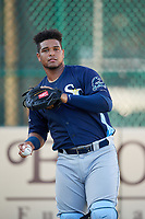 Charlotte Stone Crabs catcher Ronaldo Hernandez (24) during warmups before a Florida State League game against the Bradenton Marauders on July 30, 2019 at LECOM Park in Bradenton, Florida.  Charlotte defeated Bradenton 5-0.  (Mike Janes/Four Seam Images)