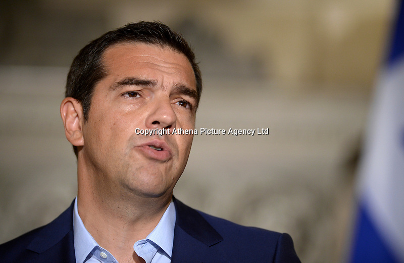 Pictured: Greek Prime Minister Alexis Tsipras at Maximos Mansion in Athens, Greece. Thurday 07 September 2017<br />