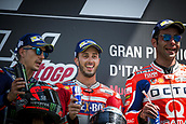 June 4th 2017, Mugello Circuit, Tuscany, Italy; MotoGP Grand Prix of Italy, Race day;  MAVERICK VINALES YAMAHA, ANDREA DOVIZIOSO DUCATI TEAM and 3rd placed DANILO PETRUCCI  OCTO PRAMAC - DUCATI