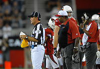 Oct. 16, 2006; Glendale, AZ, USA; Arizona Cardinals head coach Dennis Green argues with a referee during the game against the Chicago Bears at University of Phoenix Stadium in Glendale, AZ. Mandatory Credit: Mark J. Rebilas