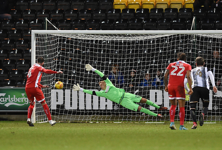 Crawley Town&rsquo;s Josh Payne scores from the penalty spot to make it 1-2 with Notts County's Branislav Pindroch diving<br /> <br /> Photographer Jon Hobley/CameraSport<br /> <br /> The EFL Sky Bet League Two - Notts County v Crawley Town - Tuesday 23rd January 2018 - Meadow Lane - Nottingham<br /> <br /> World Copyright &copy; 2018 CameraSport. All rights reserved. 43 Linden Ave. Countesthorpe. Leicester. England. LE8 5PG - Tel: +44 (0) 116 277 4147 - admin@camerasport.com - www.camerasport.com
