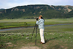 WY: Wyoming; Yellowstone National Park,.Wolf-watching in the Lamar Valley..Biologist Shauna Baron..Photo #: yellow1683.Photo copyright Lee Foster, 510/549-2202, lee@fostertravel.com, www.fostertravel.com..