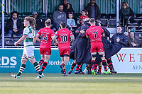 Will HOMER of Jersey Reds celebrates with team mates after he scores the opening try during the Greene King IPA Championship match between Ealing Trailfinders and Jersey Reds at Castle Bar , West Ealing , England  on 22 December 2018. Photo by David Horn.