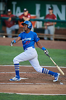Carlos Rincon (27) of the Ogden Raptors bats against the Idaho Falls Chukars at Lindquist Field on August 28, 2017 in Ogden, Utah. Ogden defeated Idaho Falls 7-1. (Stephen Smith/Four Seam Images)