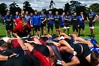 Bath Rugby coaches, players and analysts watch a set of live scrums with the visiting Dragons pack. Bath Rugby pre-season training on August 8, 2018 at Farleigh House in Bath, England. Photo by: Patrick Khachfe / Onside Images