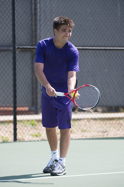 April 23, 2014; San Diego, CA, USA; Portland Pilots player Kent Andreasen during the WCC Tennis Championships at Barnes Tennis Center.