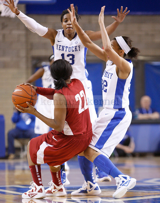 UK guards Bria Goss (13) and Kastine Evans double team Alabama's Khristin Lee during the second half of the UK Women's basketball game against Alabama on 1/29/12 at Memorial Coliseum in Lexington, Ky. Photo by Quianna Lige | Staff