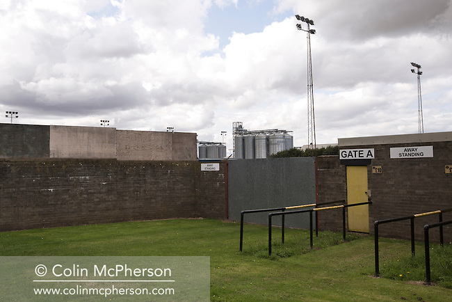 The deserted and unused away turnstiles outside Shielfield Park, before the Scottish League Two fixture between Berwick Rangers and East Stirlingshire. The home club occupied a unique position in Scottish football as they are based in Berwick-upon-Tweed, which lies a few miles inside England. Berwick won the match by 5-0, watched by a crowd of 509.