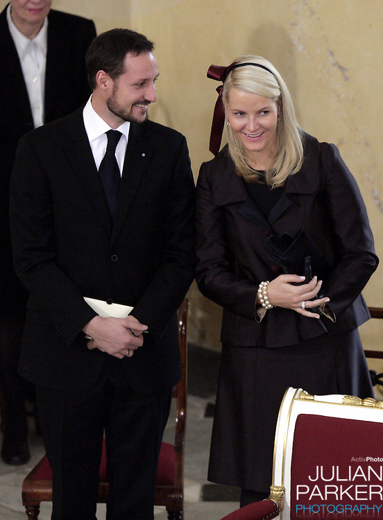 Crown Prince Haakon & Crown Princess Mette-Marit of Norway attend the Christening of Crown Prince Frederik & Crown Princess Mary of Denmark's son Christian Valdemar Henri John at the Palace Chapel, Christiansborg Palace, followed by a reception in the Great Hall..