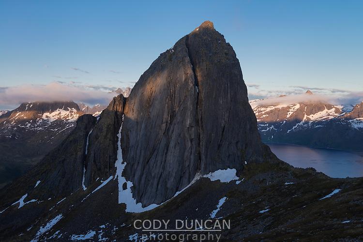 Midnight sun light and shadows on Segla mountain peak, Senja, Norway