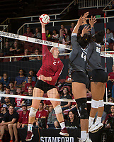 STANFORD, CA - November 3, 2018: Kathryn Plummer at Maples Pavilion. No. 1 Stanford Cardinal defeated No. 15 Colorado Buffaloes 3-2.