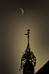 Temple and moon, Bagan, Burma