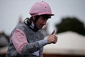 June 10th 2017, Chester Racecourse, Cheshire, England; Chester Races Horse racing; Dougie Costello gives the thumbs up after winning the Whitley Neill Gin Stakes on Dragon King