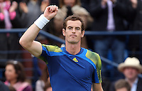 13.06.13 London, England. Andy Murray celebrates after beating Nicolas Mahut during the The Aegon Championships from the The QueenÕs Club in West Kensington.
