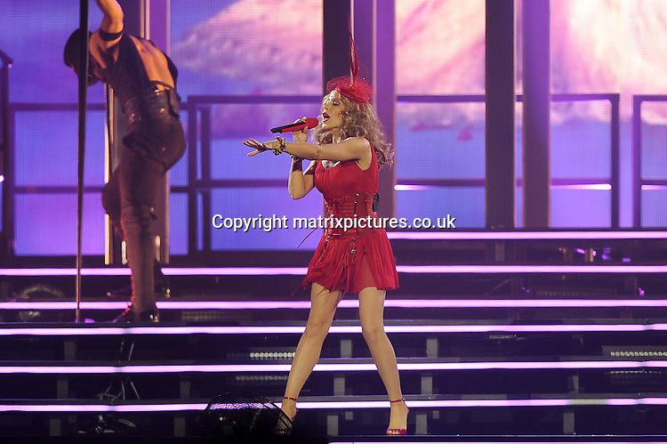 NON EXCLUSIVE PICTURE: PAUL TREADWAY / MATRIXPICTURES.CO.UK<br /> PLEASE CREDIT ALL USES<br /> <br /> WORLD RIGHTS<br /> <br /> Australian singer-songwriter Kylie Minogue performs live during her Kiss Me Once Tour 2014, at the O2 Arena in London.<br /> <br /> SEPTEMBER 29th 2014<br /> <br /> REF: PTY 144187