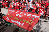 Arsenal fans display a banner against Stan Kronke, part owner of Arsenal during the FA Cup Final match between Arsenal v Chelsea, Wembley stadium, London on 27th May 2017
