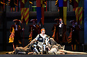 """Cardiff, UK. 03.10.2018. Welsh National Opera presents """"LA CENERENTOLA"""", by Rossini, at the Wales Millennium Centre. The production is directed by Joan Font, with design by Joan Guillén and lighting design by Albert Faura. The cast is: Aoife Miskelly (Clorinda), Heather Lowe (Tisbe), Tara Erraught (Angelina), Wojtek Gierlach (Alidoro), Fabio Capitanucci (Don Magnifico), Matteo Macchioni (Don Ramiro), Giorgio Caoduro (Dandini). The rats are: Colm Seery, Dario Sanz Yague, Ashley Bain, Meri Bonet, Lucy Burns, Maria Comes Sampedro, Lauren Wilson. <br /> Photograph © Jane Hobson."""