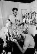 Juan Les Pins, France. July 26th, 1977. Claude Francois Prepares in his dressing-room with his American girlfriend, Kathalyn Jones.