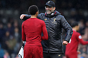 17th March 2019, Craven Cottage, London, England; EPL Premier League football, Fulham versus Liverpool; Liverpool Manager Jürgen Klopp celebrates the 1-2 win with Trent Alexander-Arnold