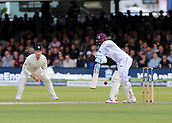 9th September 2017, Lords Cricket Ground, London, England; International test match series, third test, Day 3; England versus West Indies; West Indies Jermaine Blackwood narrowly escapes being bowled out Leg Before Wicket by England Bowler Stuart Broad