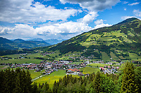 Austria, Tyrol, Westendorf (Tyrol): Hiking Village at Brixen Valley with parish church St Nicolas and Hohe Salve mountain | Oesterreich, Tirol, Westendorf (Tirol): Wanderdorf im Brixental mit Pfarrkirche St. Nikolaus und Hohe Salve (1.828 m)