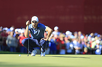 Raffa Cabrera-Bello (Team Europe) on the 8th green during the Friday afternoon Fourball at the Ryder Cup, Hazeltine national Golf Club, Chaska, Minnesota, USA.  30/09/2016<br /> Picture: Golffile | Fran Caffrey<br /> <br /> <br /> All photo usage must carry mandatory copyright credit (&copy; Golffile | Fran Caffrey)