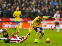 Leeds United's Mateusz Klich vies for possession with Sheffield United's Enda Stevens<br /> <br /> Photographer Alex Dodd/CameraSport<br /> <br /> The EFL Sky Bet Championship - Sheffield United v Leeds United - Saturday 1st December 2018 - Bramall Lane - Sheffield<br /> <br /> World Copyright © 2018 CameraSport. All rights reserved. 43 Linden Ave. Countesthorpe. Leicester. England. LE8 5PG - Tel: +44 (0) 116 277 4147 - admin@camerasport.com - www.camerasport.com