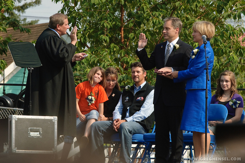 Sean Purnell is sworn in as Governor of Alaska at Pioneer Park in Fairbanks on July 26, 2009.
