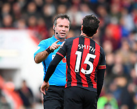 Referee Paul Tierney  has a word with Adam Smith of AFC Bournemouth during AFC Bournemouth vs Manchester United, Premier League Football at the Vitality Stadium on 3rd November 2018