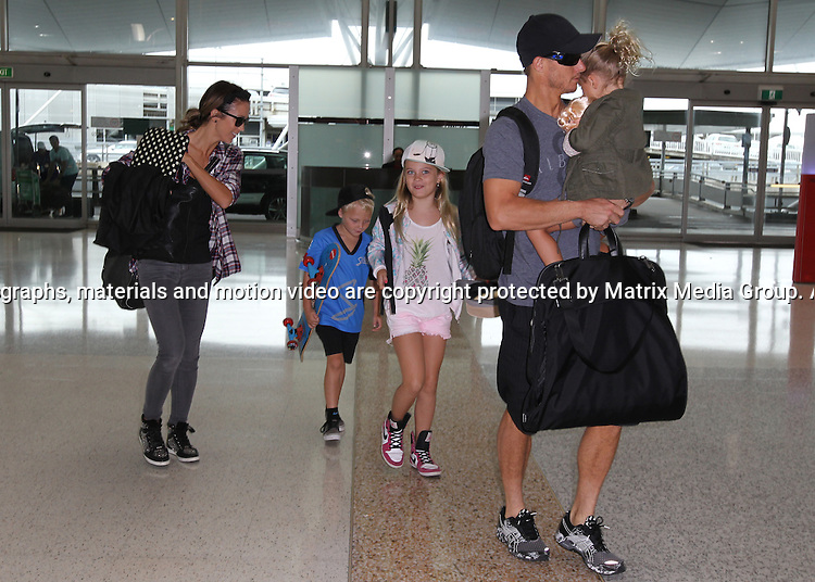 13 JANUARY 2015 SYDNEY AUSTRALIA<br /> <br /> EXCLUSIVE PICTURES<br /> <br /> Bec &amp; Lleyton Hewitt pictured with their kids Mia, Cruz and Ava checking out of their Sydney Hotel and arriving at Qantas Domestic airport bound for Melbourne.<br /> <br /> <br /> <br /> *No web use without clearance*.<br /> MUST CONTACT PRIOR TO USE <br /> +61 2 9211-1088. <br /> <br /> Matrix Media Group AU .Note: All editorial images subject to the following: For editorial use only. Additional clearance required for commercial, wireless, internet or promotional use.Images may not be altered or modified. Matrix Media Group AU makes no representations or warranties regarding names, trademarks or logos appearing in the images.